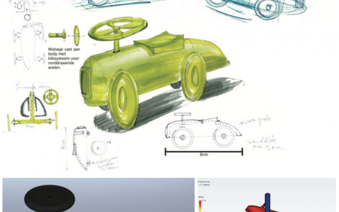 Injection molded toy car design